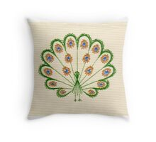 Embroidered Peacock Print Throw Pillow