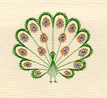 Embroidered Peacock Print by dorcas13