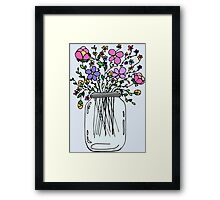 Mason Jar with Flowers Framed Print
