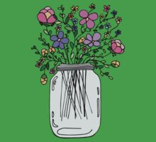 Mason Jar with Flowers One Piece - Short Sleeve