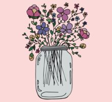 Mason Jar with Flowers Kids Tee