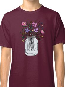Mason Jar with Flowers Classic T-Shirt