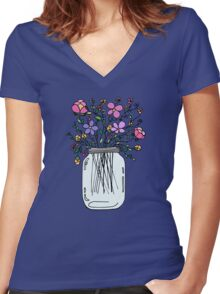 Mason Jar with Flowers Women's Fitted V-Neck T-Shirt