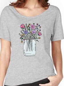 Mason Jar with Flowers Women's Relaxed Fit T-Shirt