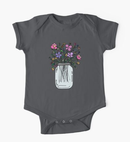 Mason Jar with Flowers One Piece - Short Sleeve