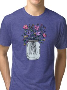Mason Jar with Flowers Tri-blend T-Shirt