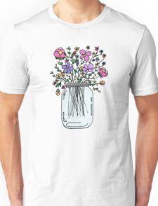 Mason Jar with Flowers Unisex T-Shirt