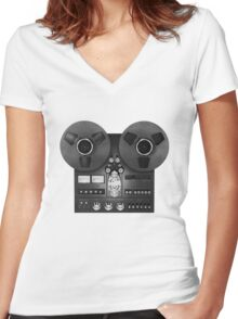 Reel-to-reel audio recorder Women's Fitted V-Neck T-Shirt