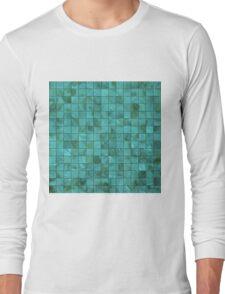 Tiffany Aqua Blue and Green Shades Mother of Pearl 3D Tiled Long Sleeve T-Shirt