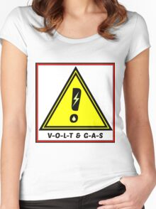 Volt & Gas Safety Sign Warning Women's Fitted Scoop T-Shirt
