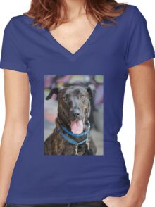 Happy Dog 2 Women's Fitted V-Neck T-Shirt