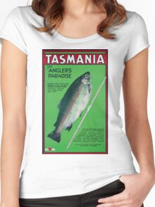 Vintage Tasmania Travel Poster Women's Fitted Scoop T-Shirt