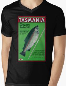 Vintage Tasmania Travel Poster Mens V-Neck T-Shirt