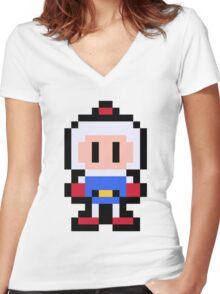 Pixel Bomberman Women's Fitted V-Neck T-Shirt