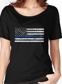 Scattered Blue Line Vintage US Flag Women's Relaxed Fit T-Shirt
