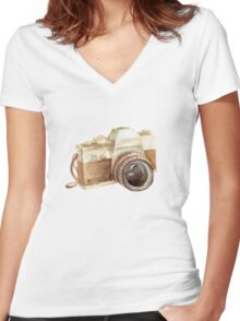 watercolor camera Women's Fitted V-Neck T-Shirt