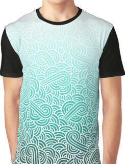 Ombre turquoise blue and white swirls doodles Graphic T-Shirt