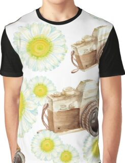 pattern. camera with flowers  Graphic T-Shirt