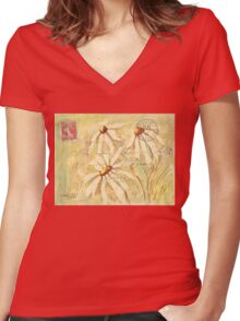 Daisies in Spring Postcard 2 Women's Fitted V-Neck T-Shirt