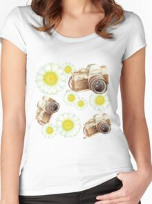 pattern. camera with flowers  Women's Fitted Scoop T-Shirt
