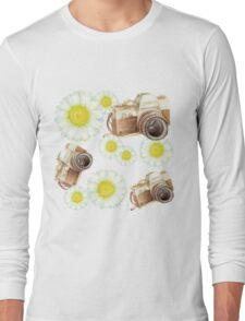 pattern. camera with flowers  Long Sleeve T-Shirt