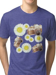 pattern. camera with flowers  Tri-blend T-Shirt