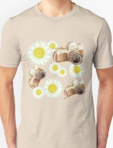 pattern. camera with flowers  Unisex T-Shirt