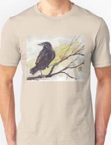 Crow on a bough Unisex T-Shirt