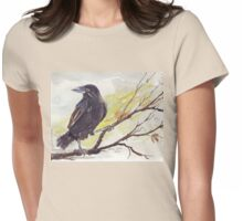 Crow on a bough Womens Fitted T-Shirt