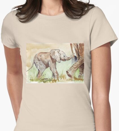 Baby Elephant walk Womens Fitted T-Shirt