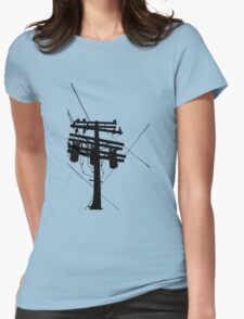 Telephone Pole Silhoute Womens Fitted T-Shirt