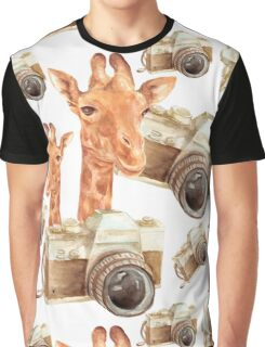 pattern with giraffe and camera Graphic T-Shirt