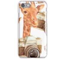 pattern with giraffe and camera iPhone Case/Skin