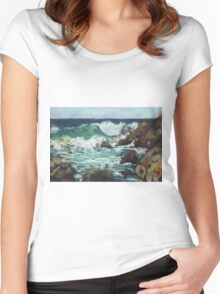 Tide coming in at Pandanus Cove - plein air Women's Fitted Scoop T-Shirt