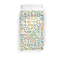 Multicolor Geometric Line Random Shapes Grid Pattern Abstract Print Duvet Cover