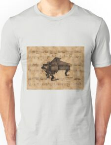 Antique Grand Piano on Vintage Music Sheet Unisex T-Shirt