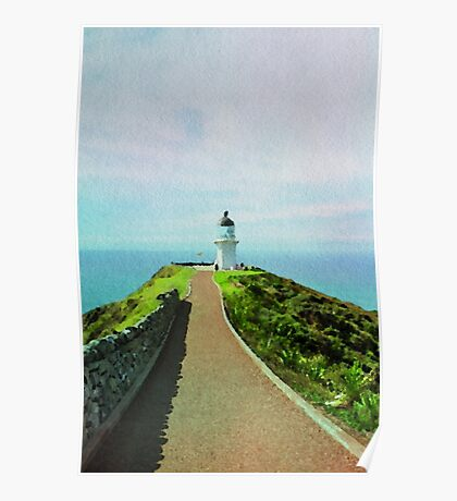 Old lighthouse in watercolor Poster