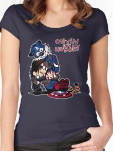 Calvin Meets His Idol : Captain Hobbesca Women's Fitted Scoop T-Shirt