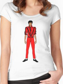 Thriller Red Jackson Pattern Women's Fitted Scoop T-Shirt