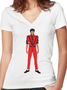 Thriller Red Jackson Pattern Women's Fitted V-Neck T-Shirt