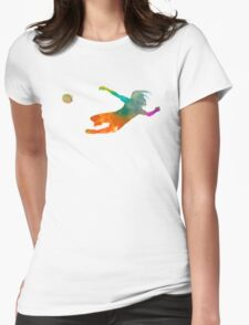Woman soccer 14 in watercolor Womens Fitted T-Shirt
