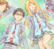 your lie in april in the grass Sticker