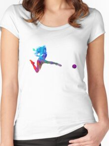 Woman soccer player 16 in watercolor Women's Fitted Scoop T-Shirt