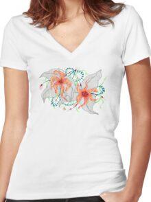 Mystical Flora Women's Fitted V-Neck T-Shirt