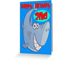 Blue Shark Second Birthday Greeting Card