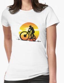 Mountainbike sunset Womens Fitted T-Shirt