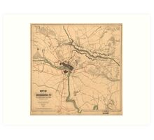 Vintage Richmond VA Rebel Defense Map (1864) Art Print