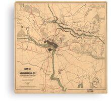 Vintage Richmond VA Rebel Defense Map (1864) Canvas Print