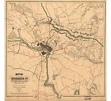 Vintage Richmond VA Rebel Defense Map (1864) Photographic Print