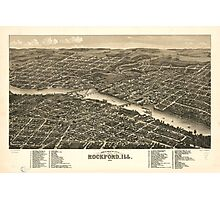 Vintage Map of Rockford Illinois (1880) Photographic Print